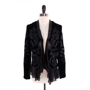 Zara Velvet Floral Embroidered Beaded Jacket